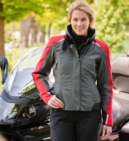 BMW StreetGuard Womens Jacket - Anthracite/Red - 76138548317