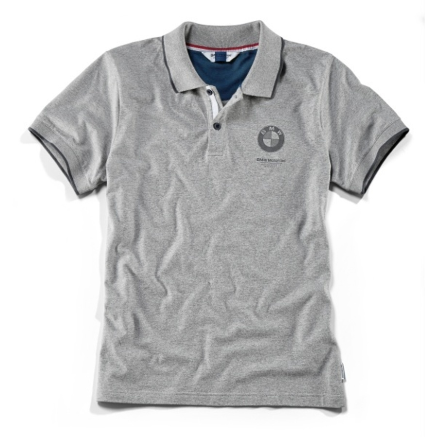 BMW Mens Gray Polo Shirt with Logo