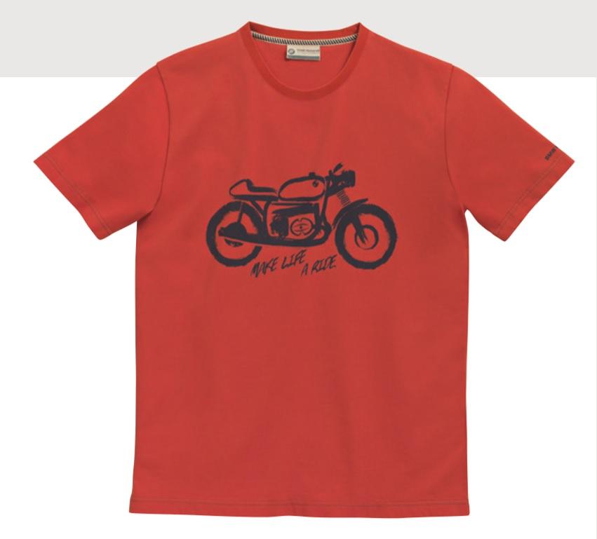BMW Motorrad Mens Biker T-Shirt - Red - 76898395749