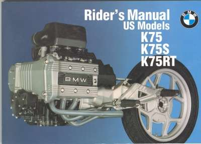 Owners Manual - BMW Riders Manual K75S K75RT - 01479799027