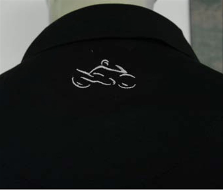 Closeup of back logo