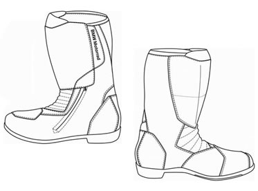 Drawing of BMW Pro Touring 2 Boots.