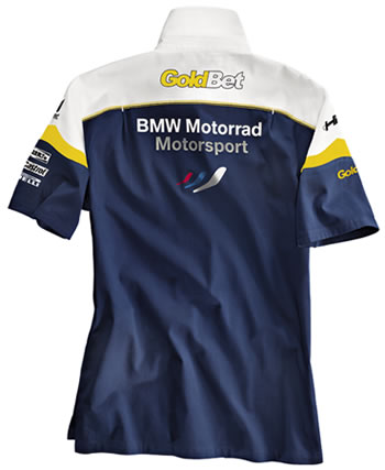 Back of BMW Motosport Men's Short-Sleeve Shirt.
