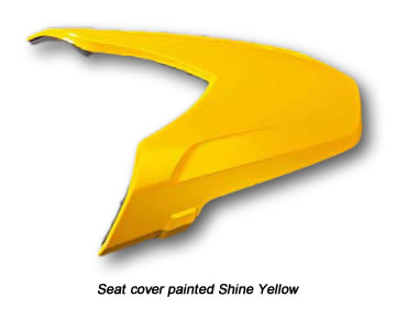 Image of the seat cover painted Shine Yellow.