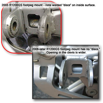 Comparison of 2005 and 2006 footpeg mounts.